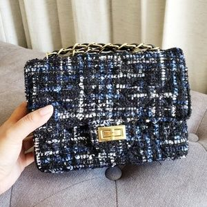 Mini Square Quilted Tweed Chain Strap Shoulder Bag